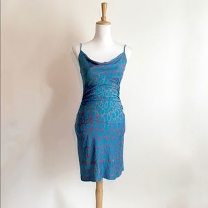 DVF Blue Silk Dress with Coral Abstract Print 4